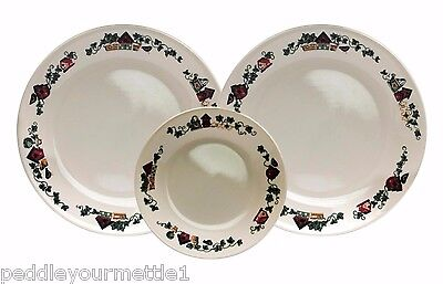 Set of 3 Corelle by Corning Garden Home Birdhouses 2 Dinner 1 Salad Plate EUC