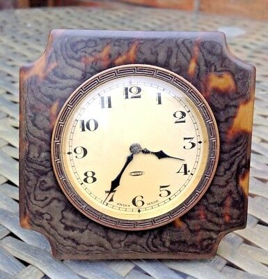 Late 19Th C Travel Clock 8 Days Swiss Movement Turtle Shell Type Frame Finish