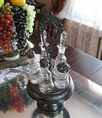 Superb Antique  Victorian   Etched Glass   Silver Plate Cruet Jars  Castor  Set