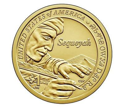 2017-P Sacagawea Native American Golden Sequoyah Dollar. MS+