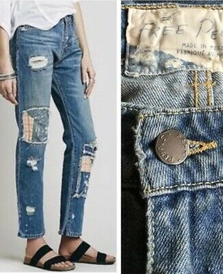 8e8752993 Free People Jeans Relaxed High Rise Patched Destroyed Distressed Size 29