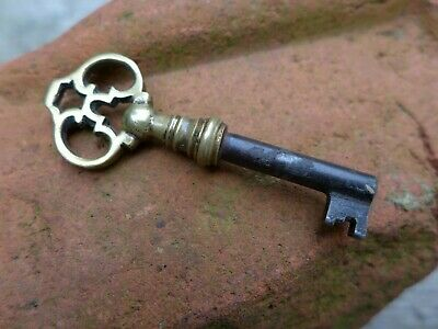 Antique Vintage Small Brass Key Cabinet Padlock Lock Unit Collector 27-04