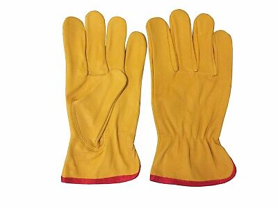 Leather Driving Yellow Working Forklift Truck Lorry Handling Ladies Mens Gloves