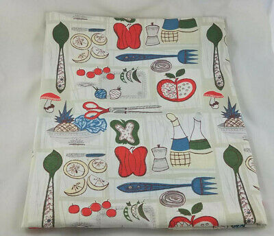 Vintage Mid Century Tablecloth Waverly Gourmet Vegetables Kitchen Fabric