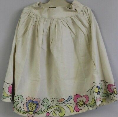 "Vintage Childs Skirt Hand Painted Embroidered 1920s 22"" Waist S 19"" L"