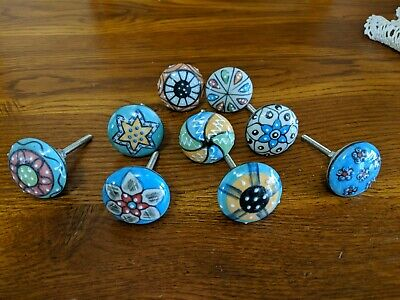 Porcelain Drawer Knobs Cabinet Pulls and Chrome Cupboard Knob #C108