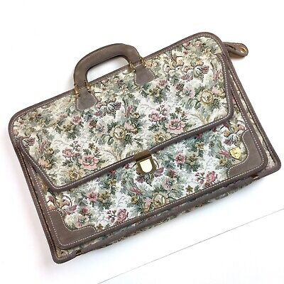 Vtg French Luggage Co Tapestry Briefcase Paradise Floral Gray Grey Rose Leather