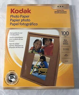 Kodak Photo Paper Instant Dry Gloss Brilliant 8.5x11in 100 Sheets 8209017 Sealed
