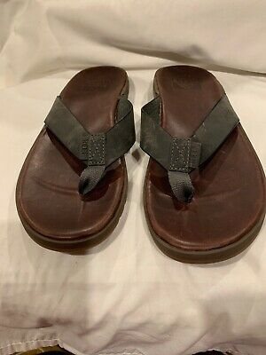 da4ffefb0b71 Reef Mens Size 9 Brown Gray Leather Flip Flop Thong Sandals Shoes Beach  Casual