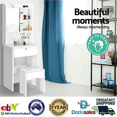 Bedroom Dresser Cabinet W/ Mirror Dressing Table Makeup Jewelry Drawers Storage
