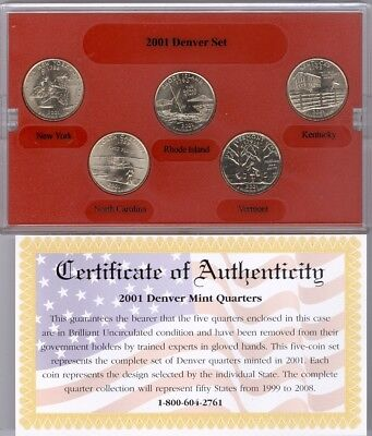 2001 Gold Edition State Quarter Collection in box with COA