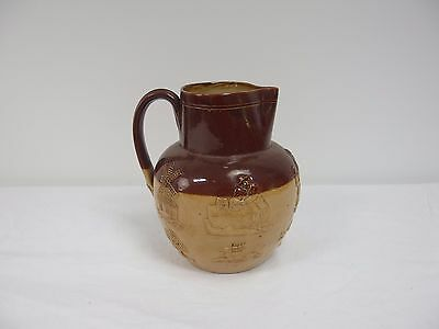 Doulton Lambeth Whiskey Water Pitcher Late 1800s Hunting Stag Stoneware