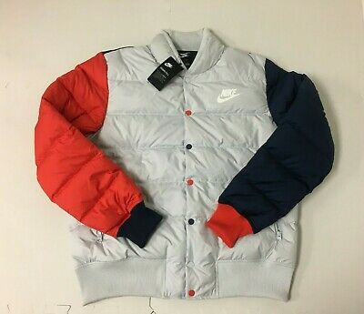 097d69cd92 Nike NSW Down Fill Bomber Jacket Off White Red Blue 928819 043 Mens Large