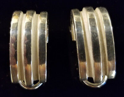Vintage Tiffany and Co Sterling Silver Atlas Grooved Earrings