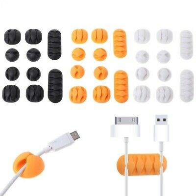 10X Durable Cable Mount Clips Self-Adhesive Desk Wire Organizer Cord Holder