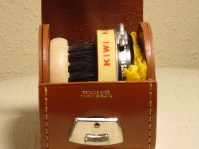 VINTAGE Natural Hide Leather Travel Shoe Polish Kit Made in England