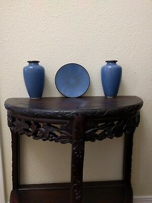 2 Antique Chinese Cloisonne Vases and plate set. Scale pattern on Vases.