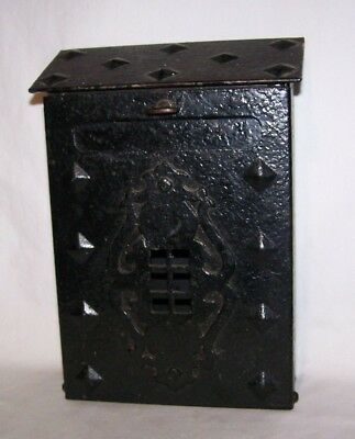 Arts & Crafts Movement Misson Style Hammered Cast Iron Mailbox Framed Window
