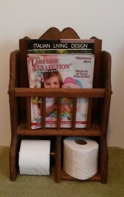 Handmade Wood Wall Mounted Toilet Paper Holder With Magazine