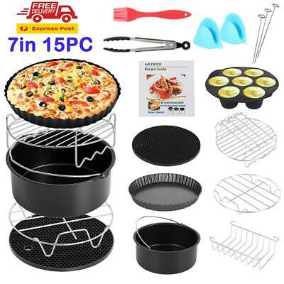 """15Pcs Set 7"""" Air Fryer Accessories Rack Cake Pizza Oven Barbecue Frying Pan Tray"""