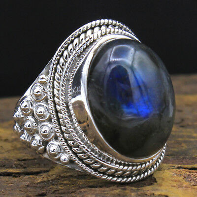 925 Sterling Silver labradorite Gemstone oval Ring Size 7.5 US 4.15g party wear