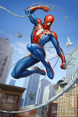 Video Game  Spider Man PS4 Silk Poster 14 X 21 inch Wallpaper