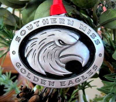 Southern Miss Golden Eagles PEWTER ENAMEL CHRISTMAS ORNAMENT Mississippi gift!