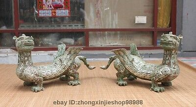 China Royal Bronze Silver-Gilt Wild Animal Dragon kylin winged beast Statue Pair