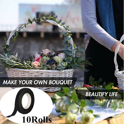 10Rolls Paper Florist Eco Floral Tape Wedding Bouquet Stem Wrap Supply DIY Black