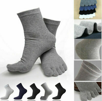 5 Pairs Cotton Absorbent 5 Toe Stockings Blend Soft Men's Five Fingers Socks UK