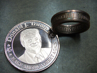 "Donald J Trump ""make america great again"" copper coin ring custom sizes availble"