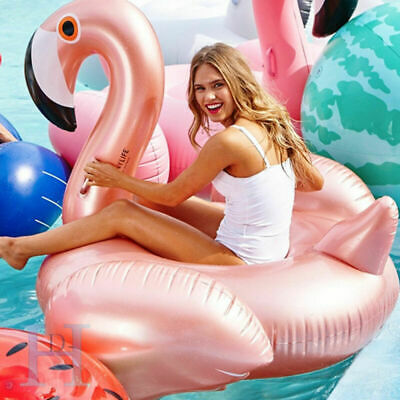 Giant Inflatable Rideable Flamingo Swim Ring Swimming Pool Water Float Beach Toy