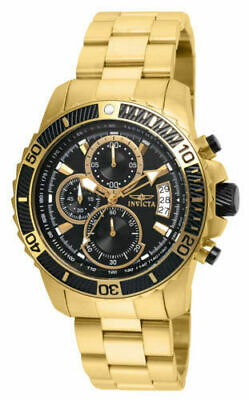22414 Invicta Men's Pro Diver Chrono 100m Gold Stainless Steel Black Dial Watch