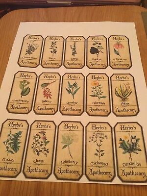 Set of Vintage Style Apothecary Spice Herb Labels sticky back Paper