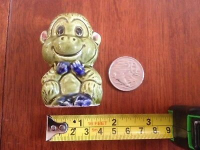 Vintage Collectable Japanese Blue & Green Ceramic Cheeky Monkey Toothpick Holder