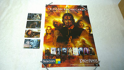 LOTR Lord of the Rings Phonecard Lot of 4 New Zealand Foreign + Store Poster