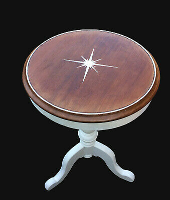 Antique walnut, wine table, French style, silver leaf star, ivory paint base
