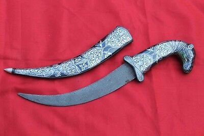Mughal Indo-Persian Silver Damascened Camel Face Shape Handle Dagger Gift Eid