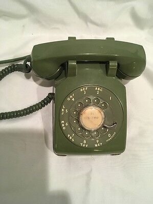 1960 8/60 Green Western Electric Bell System 500 Rotary Desk Telephone Vintage