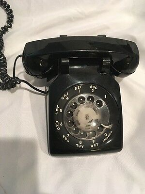 Black Western Electric Bell System 500MM Rotary Desk Telephone Vintage