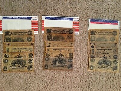 """CONFEDERATE CURRENCY ANTIQUE REPRODUCTION SETs """" B"""" - SET OF 3 COMPLETE SETS"""
