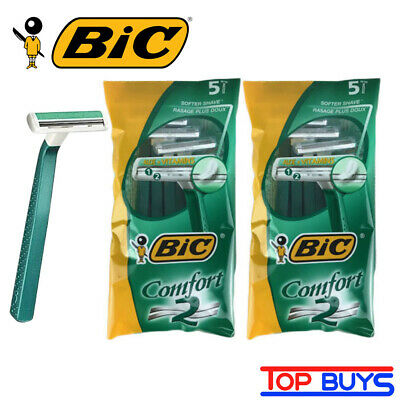 10 Pack BIC Comfort 2 Twin Blade Disposable Razors With Aloe + Vitamins