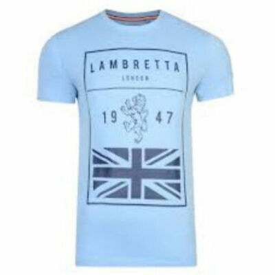 4d02fe0e0 Lambretta Mens T Shirt Retro Mod Scooter Sky Blue Union Jack Square Flag  SS0685