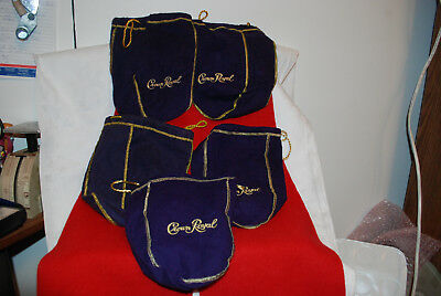 Lot of 5 Crown Royal Bags  Purple & Gold Drawstring -