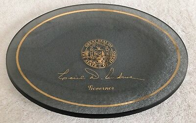 """Idaho State Governor CECIL D ANDRUS Smoked Gray & Gold Rim 6.25"""" Oval Dish Plate"""
