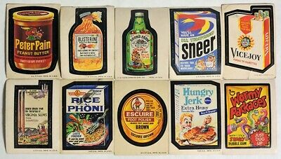 ESA2953. VINTAGE: Set of 10: WACKY PACKAGES Sticker Cards from Topps (1975)