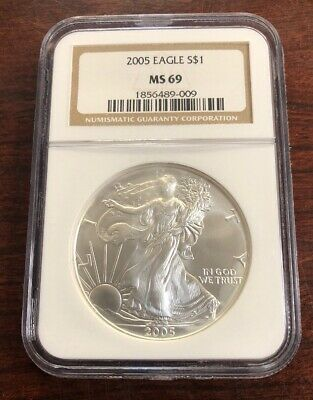2005 $1 American Silver Eagle NGC MS69