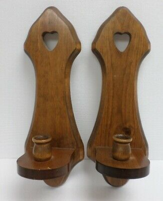 Vintage Set of 2 Wooden Wall Hanging Sconces Candle Holders w/Heart Cut-out, EUC