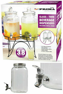 3L OR 2 X 3.8 Litre Glass Beverage Drinks Dispenser Jug Jar Juice Cocktail Party