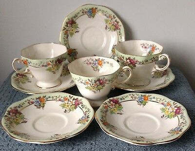 Foley English Bone China ~ 3 FOOTED CUPS and SAUCERS plus 2 SAUCERS ~ 1930s